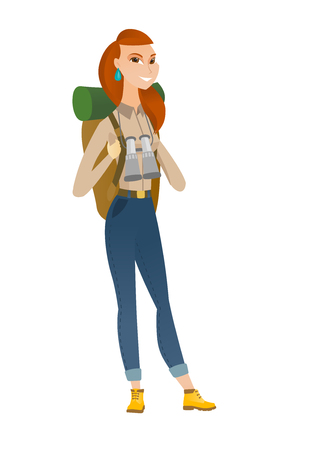 Young caucasian backpacker with backpack and binoculars. Full body portrait of backpacker traveling. Backpacker with binoculars on neck. Vector flat design illustration isolated on white background.