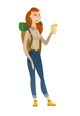 hiking: Caucasian traveler woman drinking cocktail. Full length of smiling traveler woman with cocktail. Young traveler holding glass of cocktail. Vector flat design illustration isolated on white background.