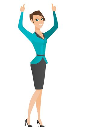 Successful caucasian business woman standing with raised arms up. Business woman celebrating business success. Business success concept. Vector flat design illustration isolated on white background. Vectores