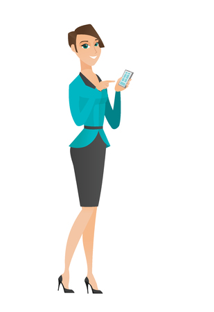 Business woman holding mobile phone and pointing at it. Full length of business woman with mobile phone. Business woman using mobile phone. Vector flat design illustration isolated on white background Stock Vector - 78692880