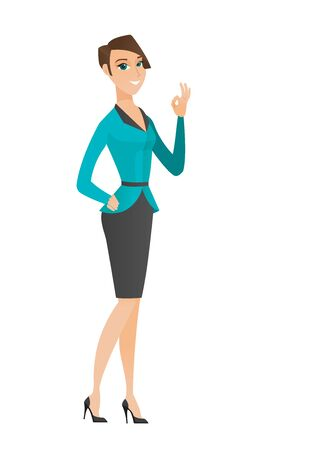 business woman: Caucasian smiling business woman showing ok sign. Young happy business woman making ok sign. Successful business woman gesturing ok sign. Vector flat design illustration isolated on white background. Illustration
