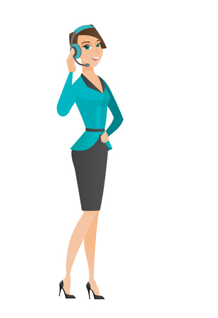 Caucasian customer service operator in headset with microphone. Full length of young customer service operator in headset with microphone. Vector flat design illustration isolated on white background. Illustration