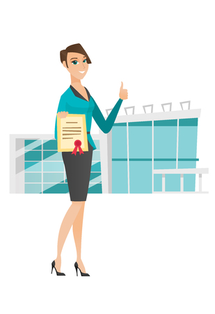 qualification: Caucasian business woman holding certificate. Young business woman with certificate. Business woman showing certificate and thumbs up. Vector flat design illustration isolated on white background