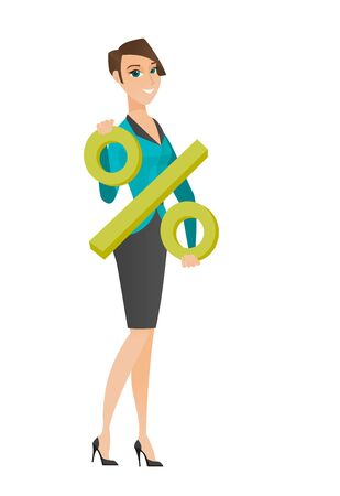 business woman: Caucasian business woman holding percent sign. Full length of business woman holding percent sign. Young business woman with percent sign. Vector flat design illustration isolated on white background.