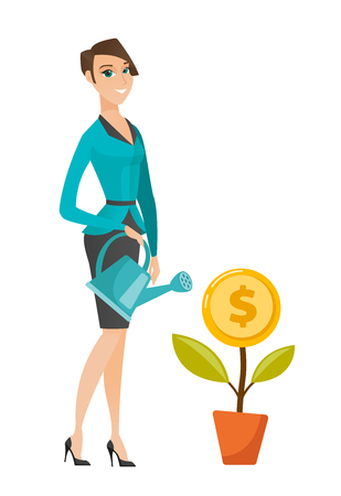 business woman: Caucasian business woman watering money flower. Business woman investing money in business project. Concept of investment in business. Vector flat design illustration isolated on white background. Illustration