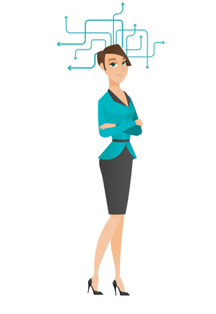 arms folded: Business woman standing with folded arms during process of business thinking. Young business woman thinking. Business thinking concept. Vector flat design illustration isolated on white background.