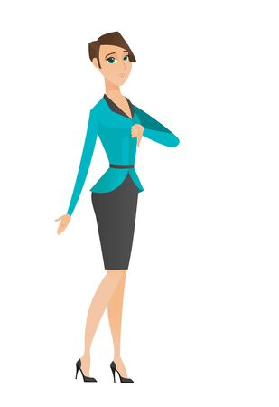 disagree: Disappointed caucasian business woman with thumb down. Full length of business woman showing thumb down. Business woman with thumb down. Vector flat design illustration isolated on white background.