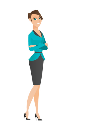 arms folded: Caucasian confident smiling business woman standing with folded arms. Full length of young confident business woman with folded arms. Vector flat design illustration isolated on white background. Illustration