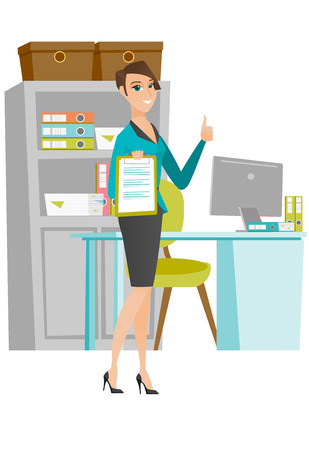 business woman: Caucasian business woman holding clipboard and giving thumb up. Young business woman with clipboard. Business woman showing clipboard. Vector flat design illustration isolated on white background