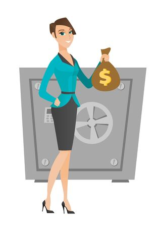 business woman: Caucasian business woman showing money bag on the background of safe. Business woman with money bag. Business woman holding money bag. Vector flat design illustration isolated on white background. Illustration