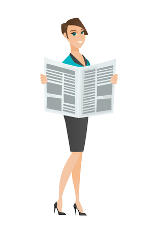 Caucasian business woman reading newspaper. Business woman standing with newspaper in hands. Business woman reading good news in newspaper. Vector flat design illustration isolated on white background Illustration