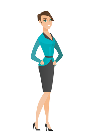 business woman: Young caucasian confident business woman. Full length of confident business woman. Business woman standing in a pose signifying confidence. Vector flat design illustration isolated on white background Illustration