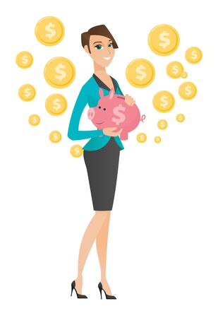 business woman: Caucasian business woman holding a piggy bank.