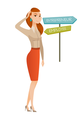business woman: Young caucasian woman standing at road sign with two career pathways - entrepreneur and employee. Woman making a decision of career way. Vector flat design illustration isolated on white background.