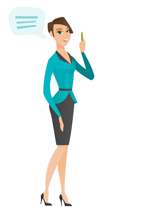Caucasian business woman with speech bubble. Young business woman giving a speech. Business woman with speech bubble coming out of head. Vector flat design illustration isolated on white background. Illustration