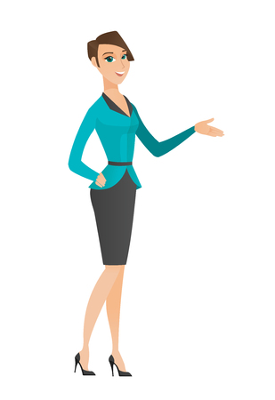 business woman: Business woman with arm out in welcoming gesture. Full length of welcoming caucasian business woman. Business woman doing welcome gesture. Vector flat design illustration isolated on white background.