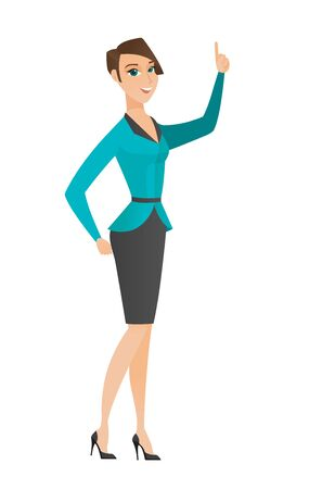 business woman: Business woman pointing with her finger. Full length of business woman pointing her finger up. Business woman with finger pointing up. Vector flat design illustration isolated on white background.