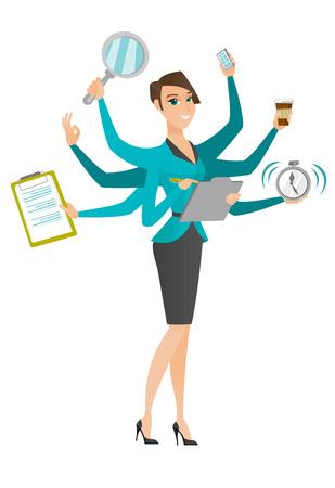 Junge Geschäftsfrau mit vielen Beinen und Händen Bewältigung Multitasking. Business-Frau macht mehrere Aufgaben. Multitasking Geschäftsleute. Vector flache Design Illustration isoliert auf weißem Hintergrund. Vektorgrafik
