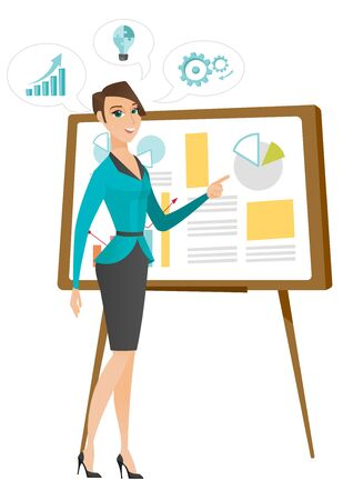 Business woman giving business presentation. Illusztráció