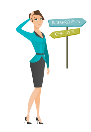 Young caucasian woman standing at road sign with two career pathways - entrepreneur and employee. Woman making a decision of career way. Vector flat design illustration isolated on white background.