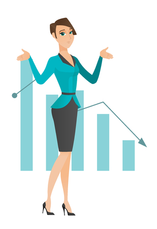 Caucasian bancrupt standing on the background of decreasing chart. Bancrupt business woman with spread arms. Business bankruptcy concept. Vector flat design illustration isolated on white background Illustration