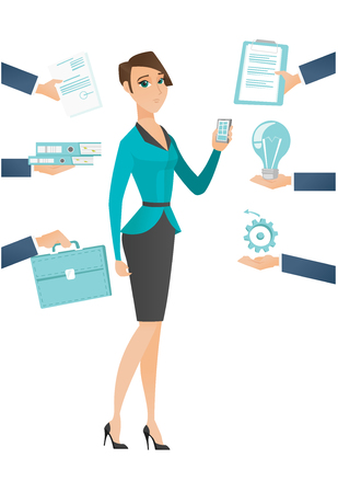 business woman: Young hard working business woman. Hard working business woman surrounded by many hands that give her a lot of work. Hard working concept. Vector flat design illustration isolated on white background. Illustration