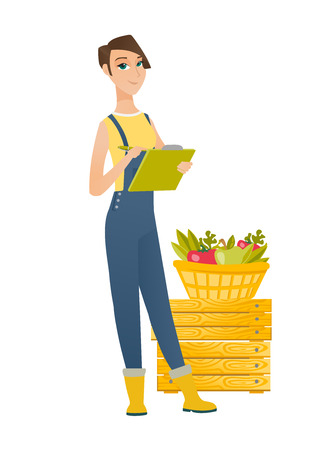 Young farmer holding clipboard and taking some notes on the background of basket with fruits and vegetables. Farmer writing on clipboard. Vector flat design illustration isolated on white background. Illustration