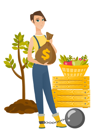 Caucasian farmer showing bag with money for payment of taxes. Captive farmer holding a bag with taxes. Concept of tax time and taxpayer. Vector flat design illustration isolated on white background.