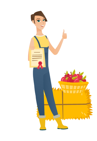 Farmer standing with certificate in hands on the background of hay bale and basket of apples. Farmer showing certificate and thumb up. Vector flat design illustration isolated on white background.