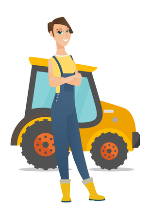 Caucasian farmer in overalls standing on the background of tractor. Young smiling farmer with folded arms standing in front of tractor. Vector flat design illustration isolated on white background.