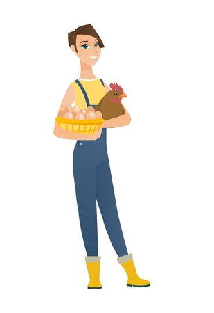 Caucasian farmer standing with basket of hens eggs and chicken on the background of hay bale. Farmer holding chicken and basket of eggs. Vector flat design illustration isolated on white background.