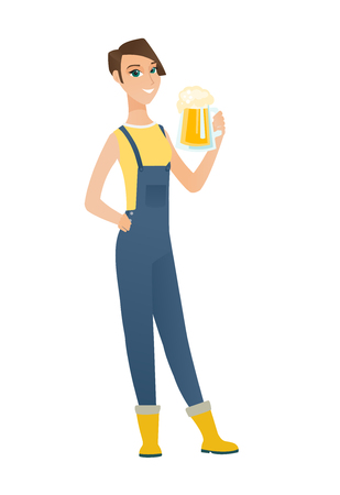 Cheerful caucasian farmer in sumer hat drinking beer. Full length of smiling farmer with glass of beer. Young farmer holding mug of beer. Vector flat design illustration isolated on white background Illustration