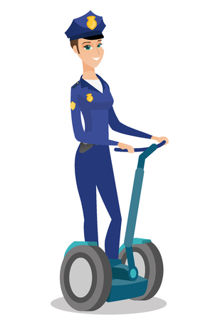 femme policier: Female security guard riding electrical scooter.