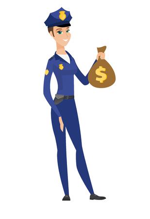 femme policier: Femme de police caucasienne tenant un sac d'argent.