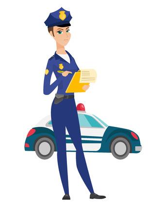 交通婦人警官の罰金請求書を書きます。  イラスト・ベクター素材
