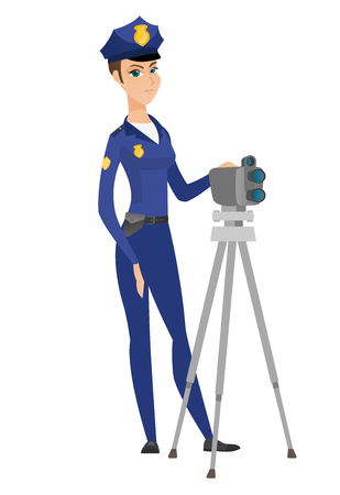 Police woman with radar for traffic speed control. Stok Fotoğraf - 78694198
