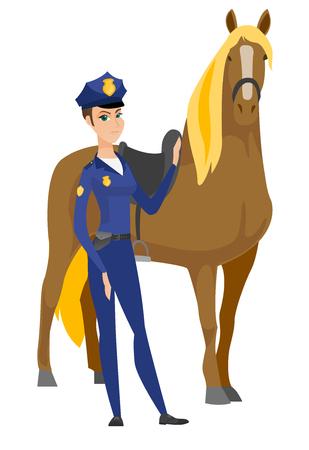 Caucasian female police officer and horse. Illusztráció