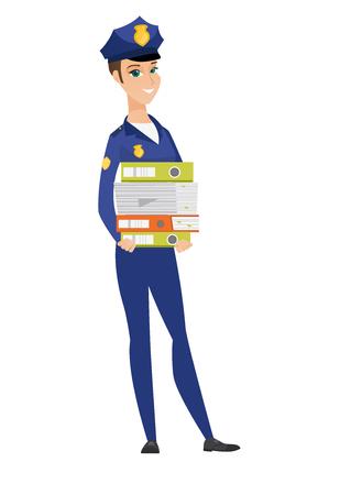Police woman holding pile of folders. Illustration