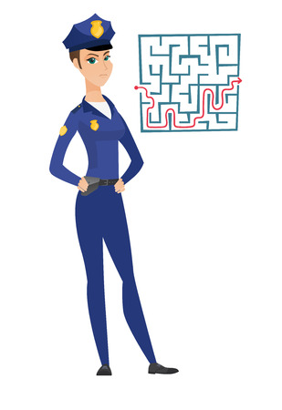 Police woman looking at labyrinth with solution. Illustration