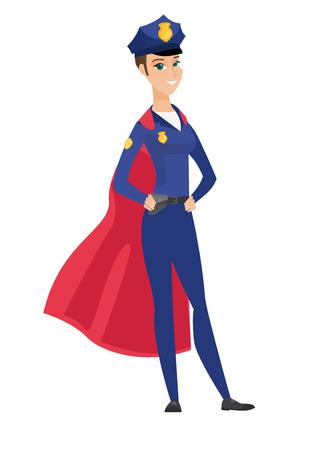 Police woman wearing a red superhero cloak.