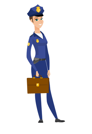 Caucasian police woman holding briefcase. Illustration