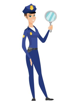 look in mirror: Caucasian police woman holding hand mirror. Illustration