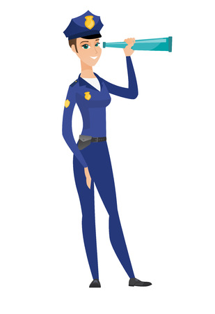 Caucasian police officer holding a spyglass. Police officer looking through the spyglass. Police officer monitoring safety with spyglass. Vector flat design illustration isolated on white background.