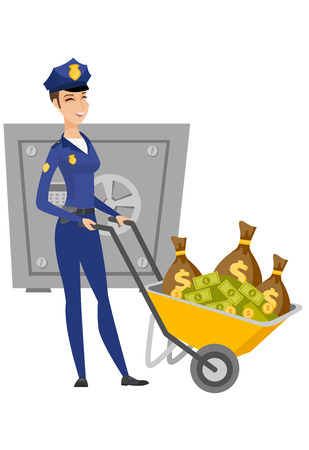 Caucasian police woman with confiscated money.