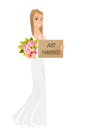 wedding dress: Bride holding plate with text just married. Illustration