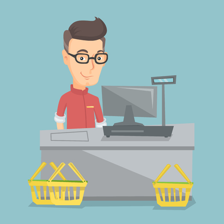 Caucasian cashier standing at the checkout in a supermarket. Cashier working at the checkout in a supermarket. Cashier standing near the cash register. Vector flat design illustration. Square layout. Illustration