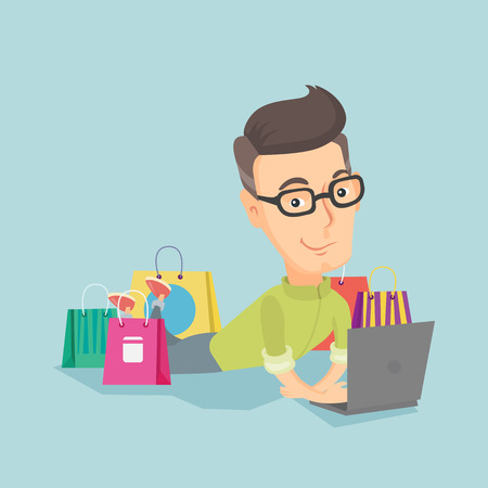 Adult caucasian man using a laptop for online shopping. Smiling man lying with a laptop and shopping bags around him. Happy man doing online shopping. Vector flat design illustration. Square layout.