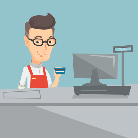 checkout: Cashier holding a credit card at the checkout. Illustration