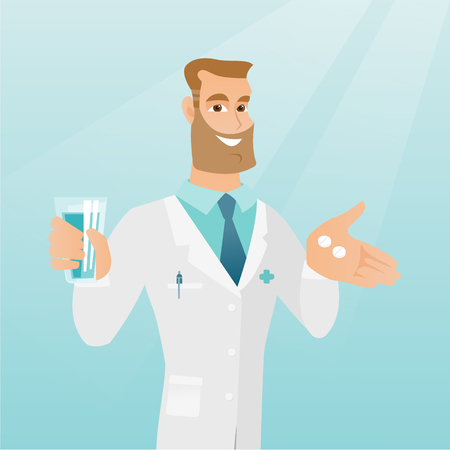Pharmacist giving pills and a glass of water.