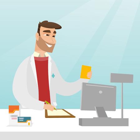 Pharmacist writing a prescription.